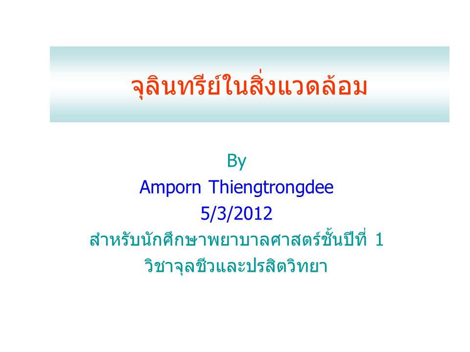 จุลินทรีย์ในสิ่งแวดล้อม By Amporn Thiengtrongdee 5/3/2012 สำหรับนักศึกษาพยาบาลศาสตร์ชั้นปีที่ 1 วิชาจุลชีวและปรสิตวิทยา