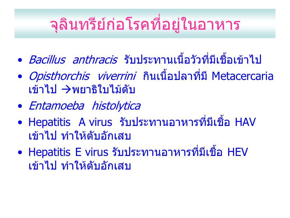 จุลินทรีย์ก่อโรคที่อยู่ในอาหาร Bacillus anthracis รับประทานเนื้อวัวที่มีเชื้อเข้าไป Opisthorchis viverrini กินเนื้อปลาที่มี Metacercaria เข้าไป  พยาธิใบไม้ตับ Entamoeba histolytica Hepatitis A virus รับประทานอาหารที่มีเชื้อ HAV เข้าไป ทำให้ตับอักเสบ Hepatitis E virus รับประทานอาหารที่มีเชื้อ HEV เข้าไป ทำให้ตับอักเสบ