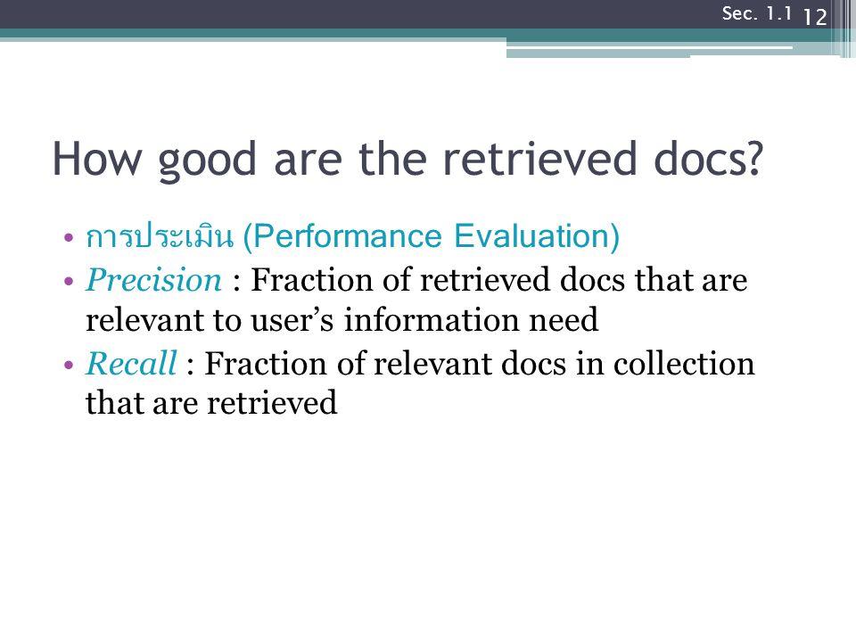 How good are the retrieved docs.