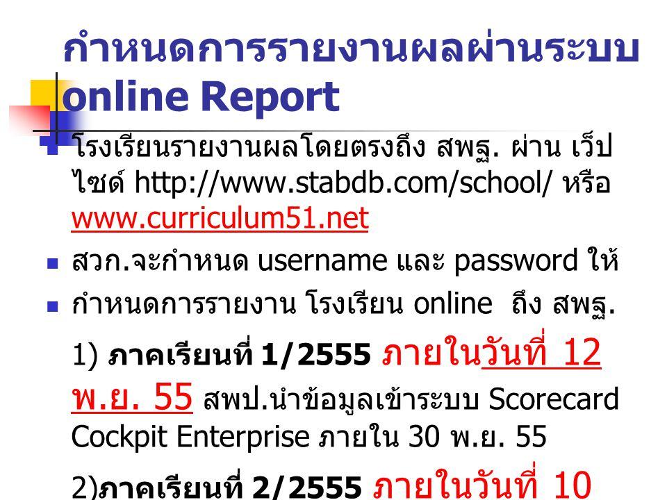 กำหนดการรายงานผลผ่านระบบ online Report โรงเรียนรายงานผลโดยตรงถึง สพฐ. ผ่าน เว็ป ไซด์ http://www.stabdb.com/school/ หรือ www.curriculum51.net www.curri