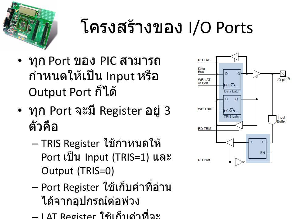 โครงสร้างของ I/O Ports ทุก Port ของ PIC สามารถ กำหนดให้เป็น Input หรือ Output Port ก็ได้ ทุก Port จะมี Register อยู่ 3 ตัวคือ – TRIS Register ใช้กำหนด