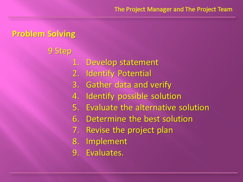 The Project Manager and The Project Team Problem Solving 9 Step 1.Develop statement 2.Identify Potential 3.Gather data and verify 4.Identify possible