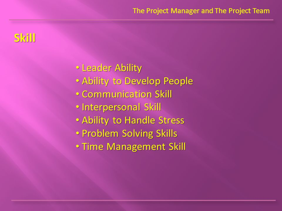 The Project Manager and The Project Team Skill Leader Ability Leader Ability Ability to Develop People Ability to Develop People Communication Skill Communication Skill Interpersonal Skill Interpersonal Skill Ability to Handle Stress Ability to Handle Stress Problem Solving Skills Problem Solving Skills Time Management Skill Time Management Skill