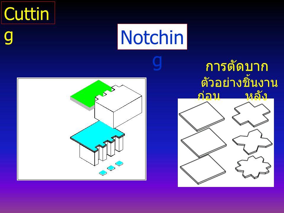 Notchin g ตัวอย่างชิ้นงาน ก่อน หลัง การตัดบาก Cuttin g