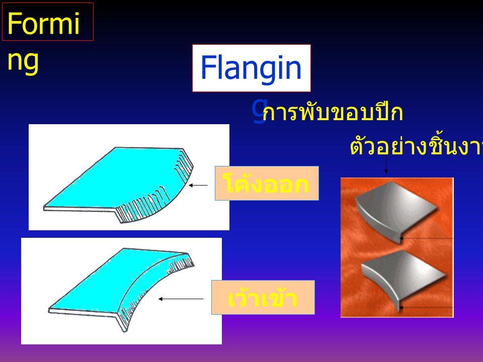 Flangin g โค้งออก เว้าเข้า การพับขอบปีก ตัวอย่างชิ้นงาน Formi ng