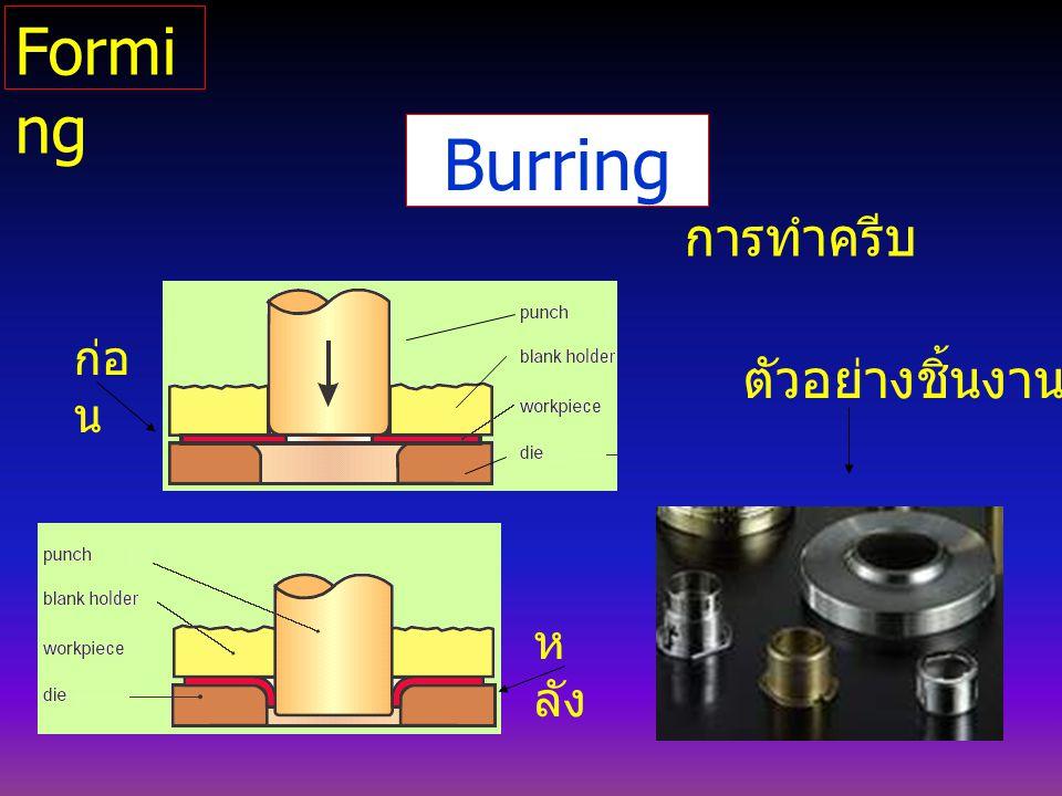 Burring การทำครีบ ตัวอย่างชิ้นงาน ก่อ น ห ลัง Formi ng
