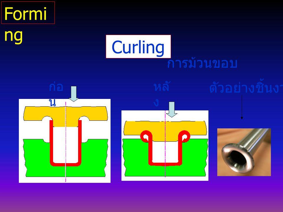 Curling การม้วนขอบ ตัวอย่างชิ้นงาน ก่อ น หลั ง Formi ng