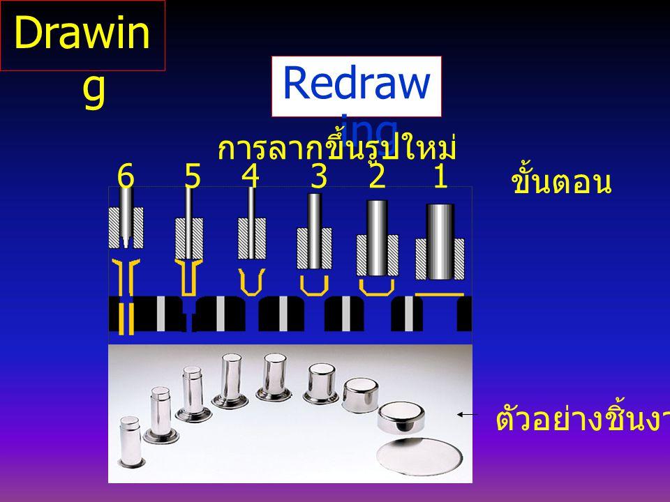Redraw ing การลากขึ้นรูปใหม่ ตัวอย่างชิ้นงาน ขั้นตอน 123456 Drawin g