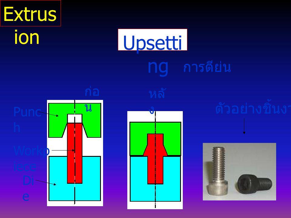 Upsetti ng การตีย่น Punc h Di e Workp iece ก่อ น หลั ง ตัวอย่างชิ้นงาน Extrus ion