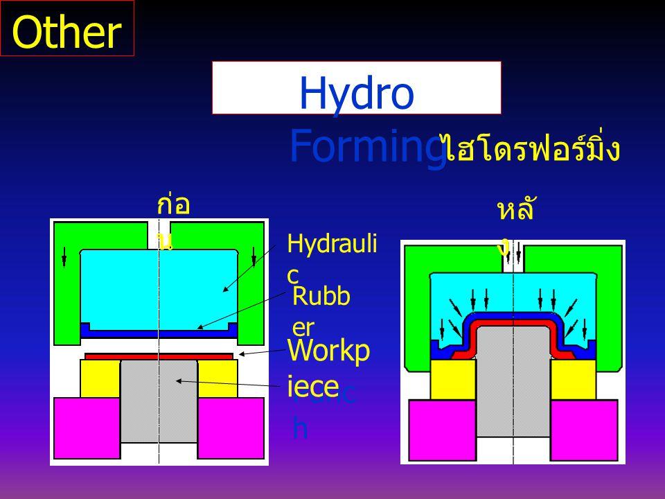 Hydro Forming ไฮโดรฟอร์มิ่ง Punc h Hydrauli c Workp iece ก่อ น หลั ง Rubb er Other