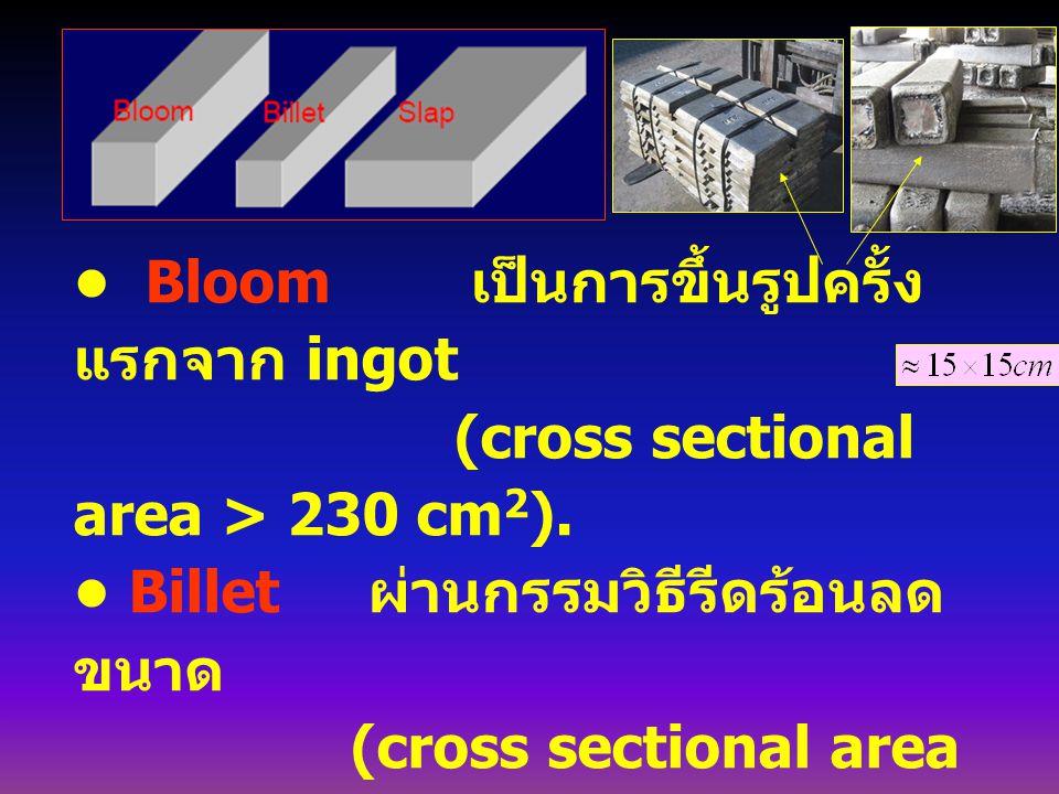 Bloom เป็นการขึ้นรูปครั้ง แรกจาก ingot (cross sectional area > 230 cm 2 ). Billet ผ่านกรรมวิธีรีดร้อนลด ขนาด (cross sectional area > 40 mm 2 ). Slab ผ