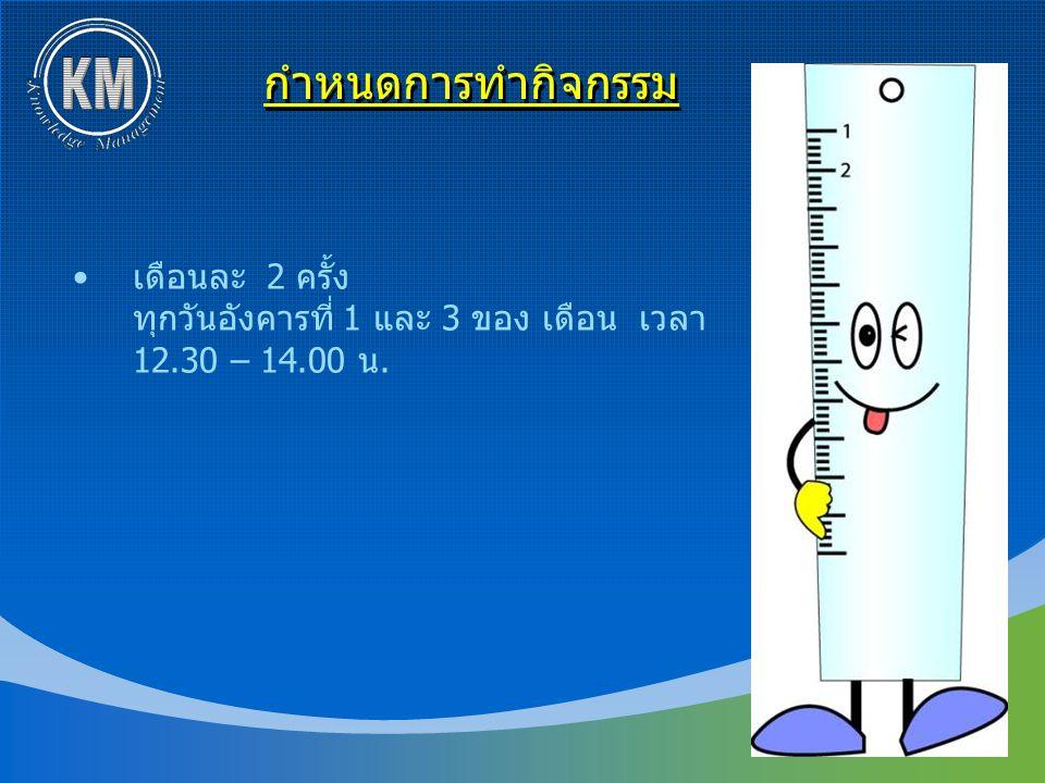 กำหนดการทำกิจกรรม เดือนละ 2 ครั้ง ทุกวันอังคารที่ 1 และ 3 ของ เดือน เวลา 12.30 – 14.00 น.