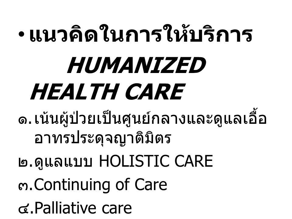 แนวคิดในการให้บริการ HUMANIZED HEALTH CARE ๑.เน้นผู้ป่วยเป็นศูนย์กลางและดูแลเอื้อ อาทรประดุจญาติมิตร ๒.ดูแลแบบ HOLISTIC CARE ๓. Continuing of Care ๔.