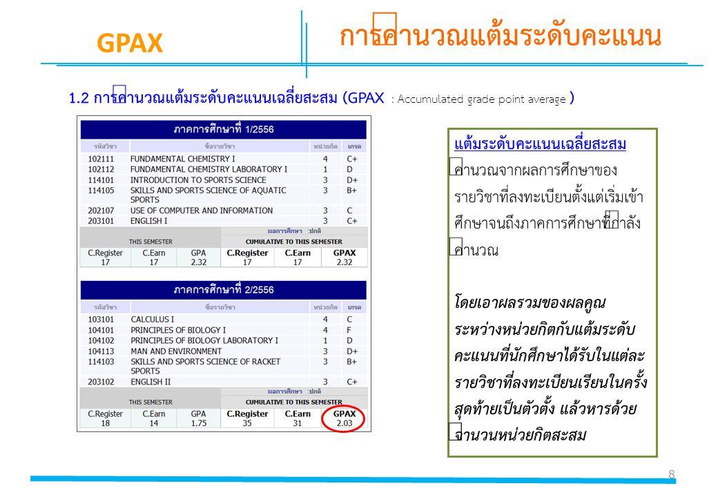 8 การคำนวณแต้มระดับคะแนน GPAX 1.2 การคำนวณแต้มระดับคะแนนเฉลี่ยสะสม (GPAX : Accumulated grade point average ) แต้มระดับคะแนนเฉลี่ยสะสม คำนวณจากผลการศึก
