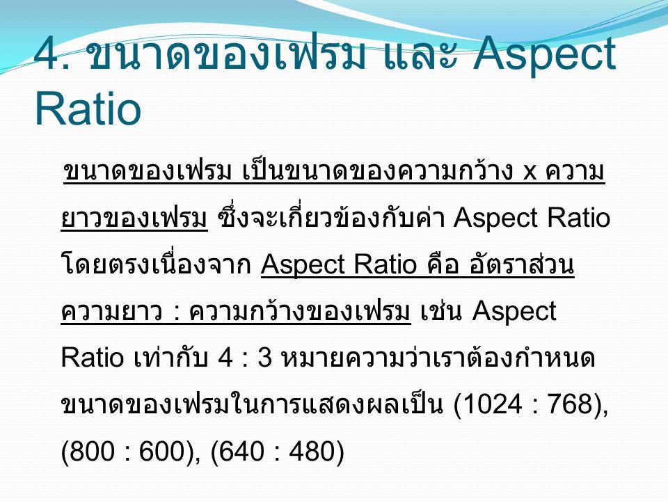 4. ขนาดของเฟรม และ Aspect Ratio ขนาดของเฟรม เป็นขนาดของความกว้าง x ความ ยาวของเฟรม ซึ่งจะเกี่ยวข้องกับค่า Aspect Ratio โดยตรงเนื่องจาก Aspect Ratio คื