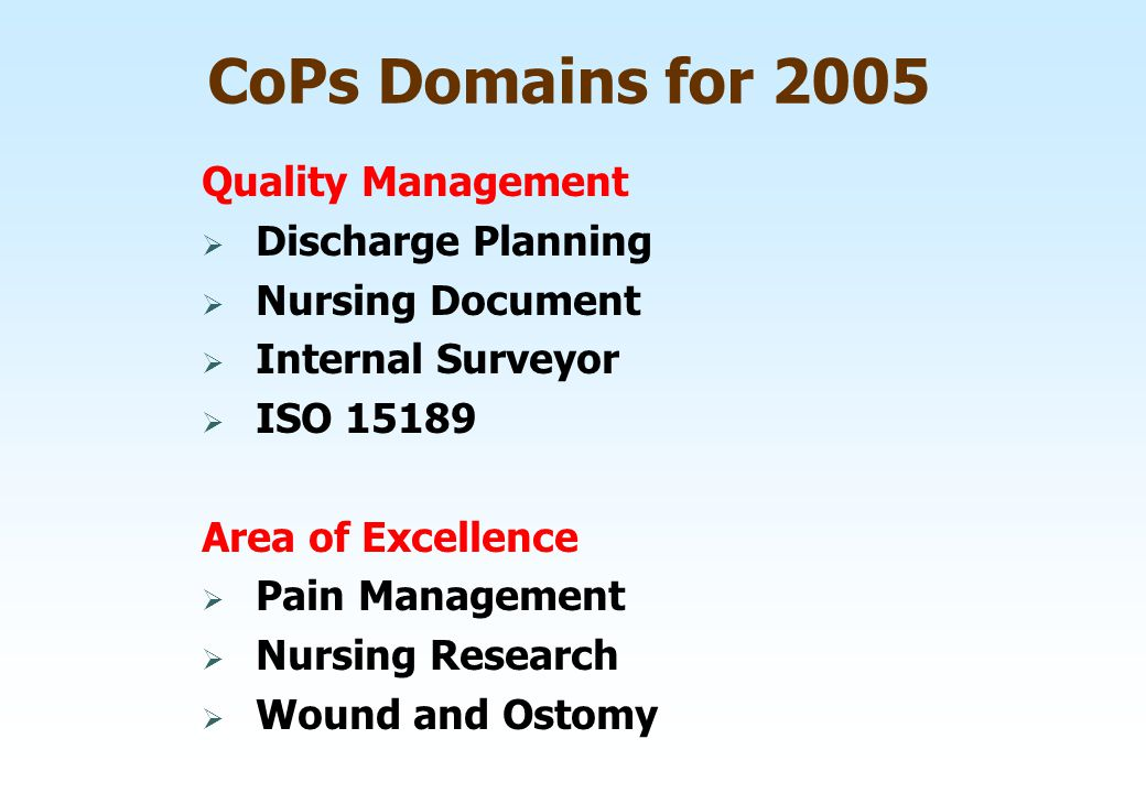 CoPs Domains for 2005 Quality Management  Discharge Planning  Nursing Document  Internal Surveyor  ISO 15189 Area of Excellence  Pain Management