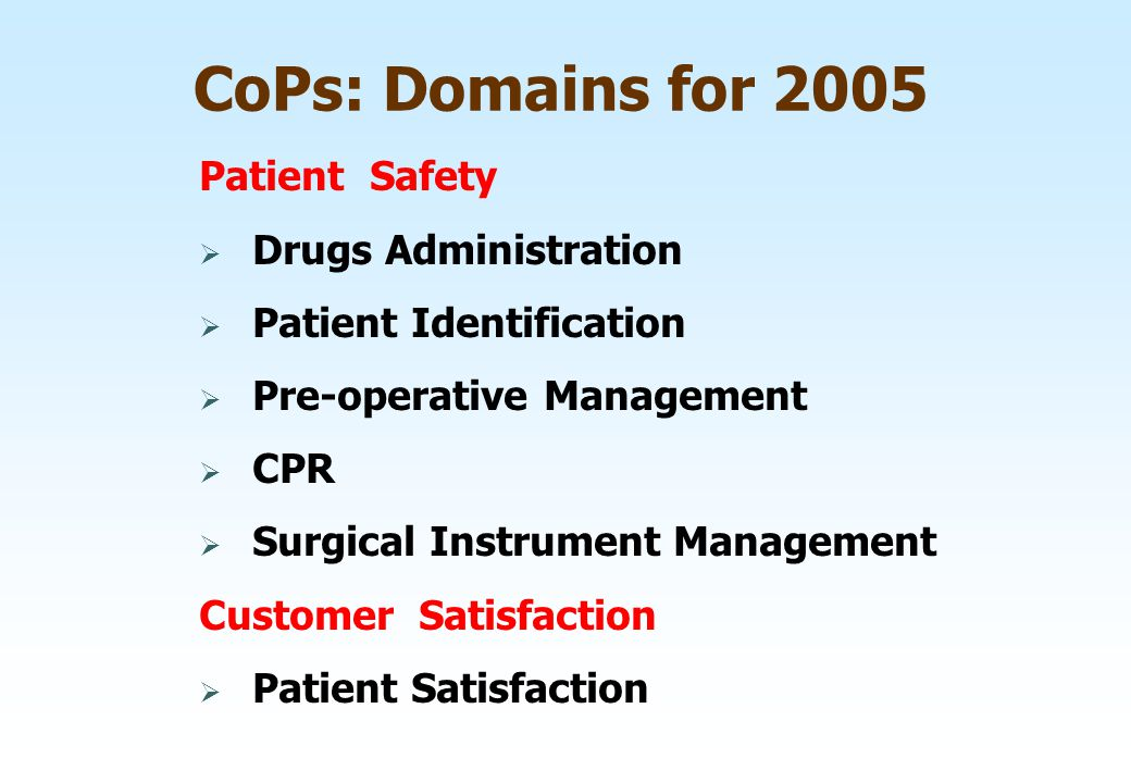 CoPs: Domains for 2005 Patient Safety  Drugs Administration  Patient Identification  Pre-operative Management  CPR  Surgical Instrument Managemen