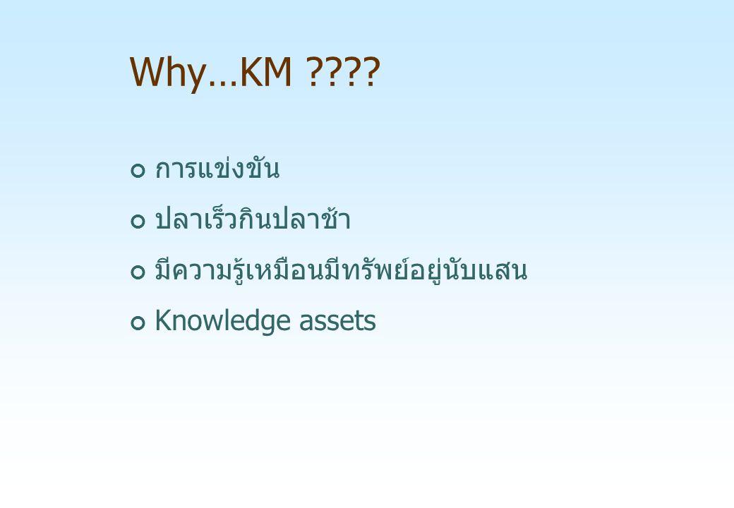 Why…KM ???? การแข่งขัน ปลาเร็วกินปลาช้า มีความรู้เหมือนมีทรัพย์อยู่นับแสน Knowledge assets