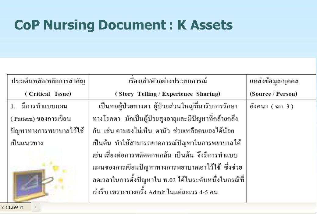 CoP Nursing Document : K Assets