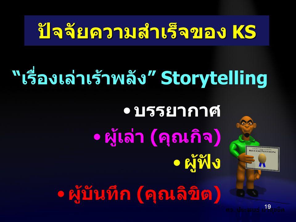 """บรรยากาศ ผู้เล่า (คุณกิจ) ผู้ฟัง ผู้บันทึก (คุณลิขิต) 19 ปัจจัยความสำเร็จของ KS """"เรื่องเล่าเร้าพลัง"""" Storytelling ดร. ประพนธ์ ผาสุขยืด"""