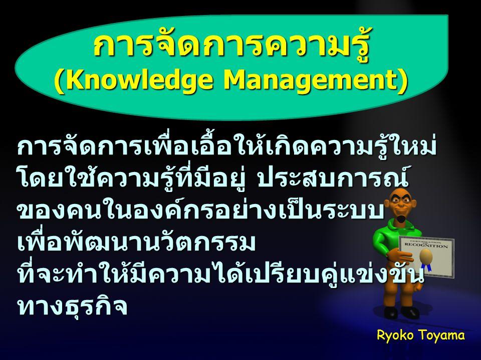 การจัดการความรู้ (Knowledge Management) การจัดการเพื่อเอื้อให้เกิดความรู้ใหม่ โดยใช้ความรู้ที่มีอยู่ ประสบการณ์ ของคนในองค์กรอย่างเป็นระบบ เพื่อพัฒนาน