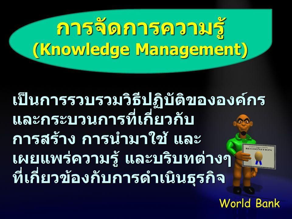 การจัดการความรู้ (Knowledge Management) เป็นการรวบรวมวิธีปฏิบัติขององค์กร และกระบวนการที่เกี่ยวกับ การสร้าง การนำมาใช้ และ เผยแพร่ความรู้ และบริบทต่าง