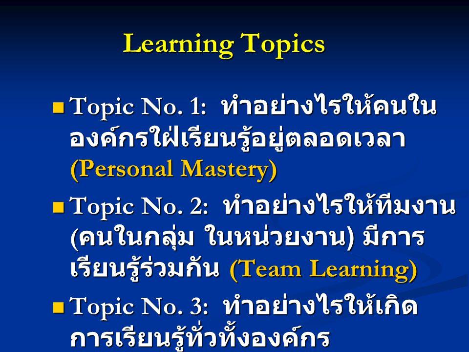 Learning Topics Topic No. 1: ทำอย่างไรให้คนใน องค์กรใฝ่เรียนรู้อยู่ตลอดเวลา (Personal Mastery) Topic No. 1: ทำอย่างไรให้คนใน องค์กรใฝ่เรียนรู้อยู่ตลอด