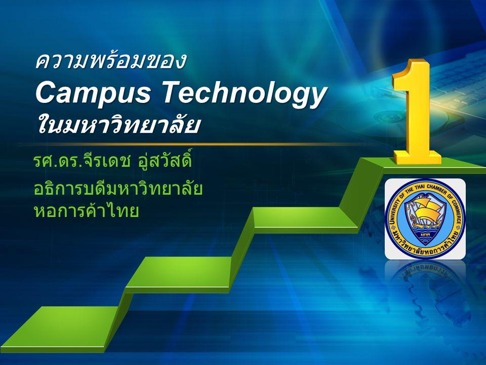 L/O/G/O ความพร้อมของ Campus Technology ในมหาวิทยาลัย รศ. ดร. จีรเดช อู่สวัสดิ์ อธิการบดีมหาวิทยาลัย หอการค้าไทย
