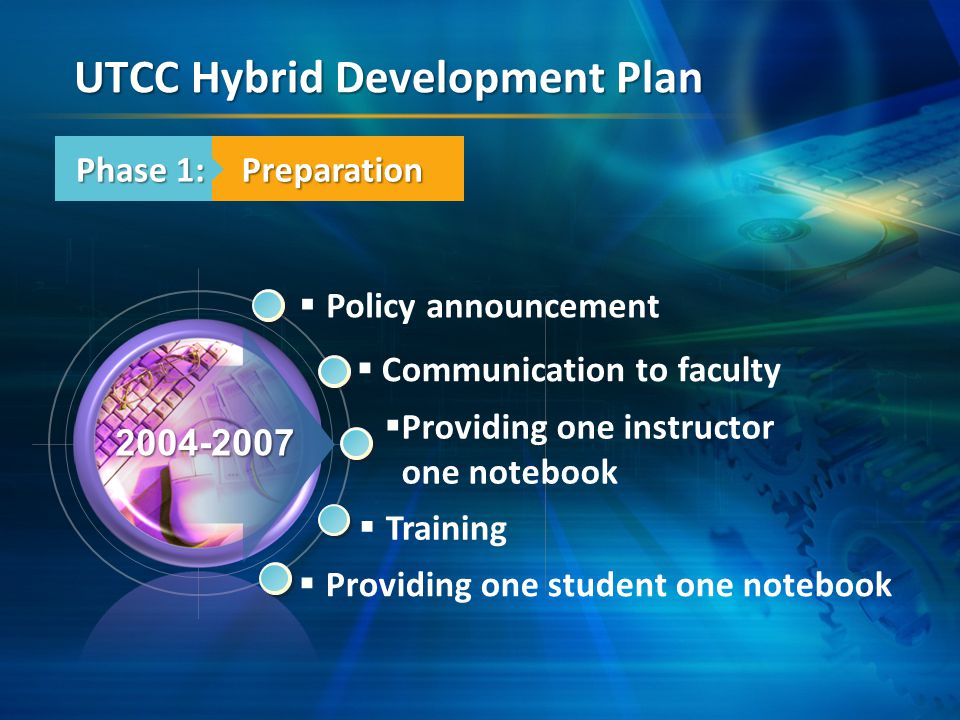  Policy announcement  Communication to faculty  Training  Providing one student one notebook 2004-2007  Providing one instructor one notebook Phase 1: UTCC Hybrid Development Plan Preparation