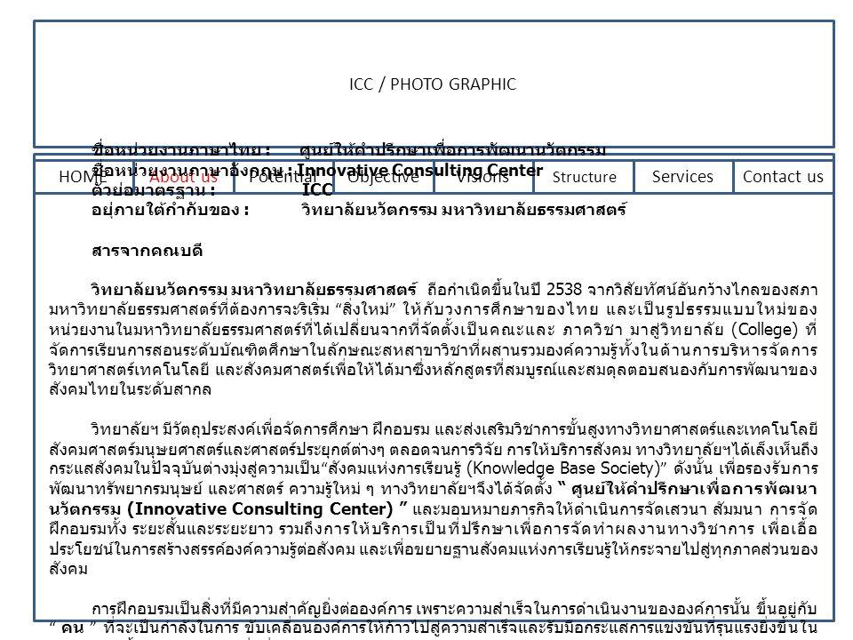 ICC / PHOTO GRAPHIC HOMEAbout usPotentialObjectiveVisions Structure ServicesContact us ชื่อหน่วยงานภาษาไทย : ศูนย์ให้คำปรึกษาเพื่อการพัฒนานวัตกรรม ชื่