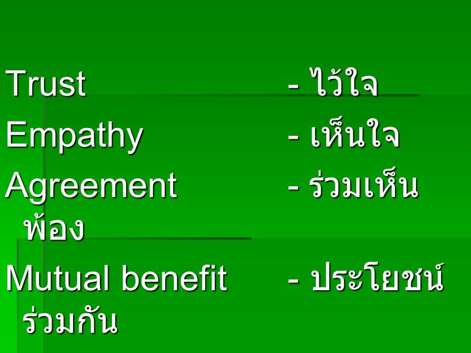 Trust- ไว้ใจ Empathy- เห็นใจ Agreement- ร่วมเห็น พ้อง Mutual benefit- ประโยชน์ ร่วมกัน