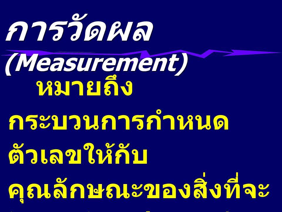 หมายถึง กระบวนการกำหนด ตัวเลขให้กับ คุณลักษณะของสิ่งที่จะ วัดและวัตถุประสงค์ของ การวัด การวัดผล (Measurement)