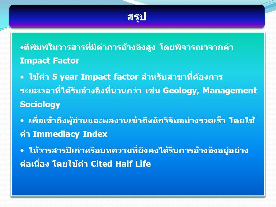 ตีพิมพ์ในวารสารที่มีค่าการอ้างอิงสูง โดยพิจารณาจากค่า Impact Factor ใช้ค่า 5 year Impact factor สำหรับสาขาที่ต้องการ ระยะเวลาที่ได้รับอ้างอิงที่นานกว่า เช่น Geology, Management Sociology เพื่อเข้าถึงผู้อ่านและผลงานเข้าถึงนักวิจัยอย่างรวดเร็ว โดยใช้ ค่า Immediacy Index ให้วารสารปีเก่าหรือบทความที่ยังคงได้รับการอ้างอิงอยู่อย่าง ต่อเนื่อง โดยใช้ค่า Cited Half Life สรุป