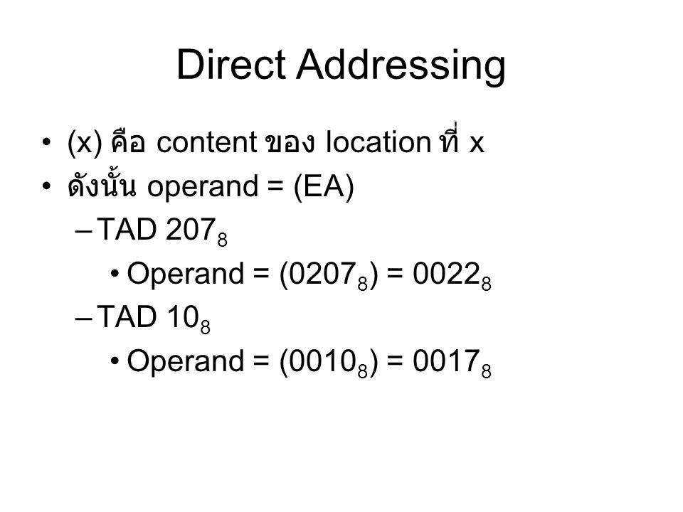 (x) คือ content ของ location ที่ x ดังนั้น operand = (EA) –TAD 207 8 Operand = (0207 8 ) = 0022 8 –TAD 10 8 Operand = (0010 8 ) = 0017 8