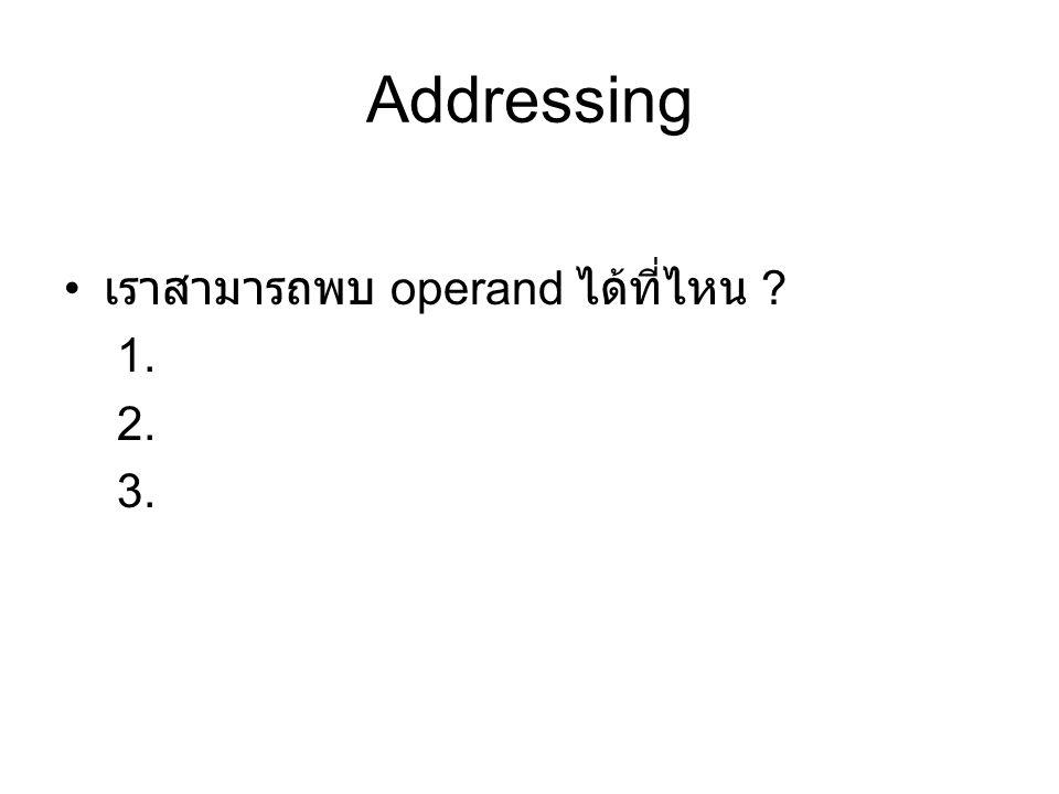 Addressing เราสามารถพบ operand ได้ที่ไหน ? 1. 2. 3.