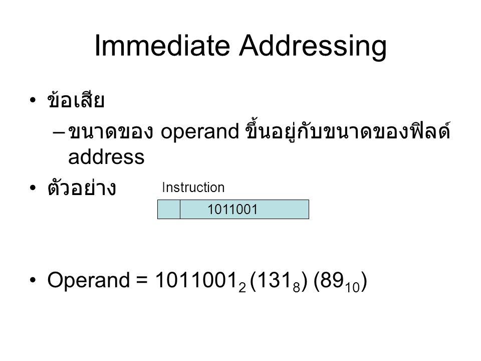 Immediate Addressing ข้อเสีย – ขนาดของ operand ขึ้นอยู่กับขนาดของฟิลด์ address ตัวอย่าง Operand = 1011001 2 (131 8 ) (89 10 ) 1011001 Instruction