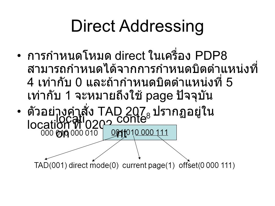 Direct Addressing EA = page ของ location + offset 000 01 2 + 0 000 111 2 000 010 000 111 2 (0207 8 ) 001 010 000 111 000 010 locati on conte nt
