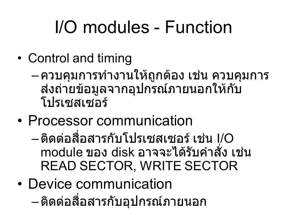 I/O modules - Function Control and timing – ควบคุมการทำงานให้ถูกต้อง เช่น ควบคุมการ ส่งถ่ายข้อมูลจากอุปกรณ์ภายนอกให้กับ โปรเซสเซอร์ Processor communication – ติดต่อสื่อสารกับโปรเซสเซอร์ เช่น I/O module ของ disk อาจจะได้รับคำสั่ง เช่น READ SECTOR, WRITE SECTOR Device communication – ติดต่อสื่อสารกับอุปกรณ์ภายนอก