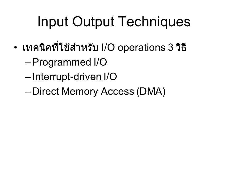 Input Output Techniques เทคนิคที่ใช้สำหรับ I/O operations 3 วิธี –Programmed I/O –Interrupt-driven I/O –Direct Memory Access (DMA)