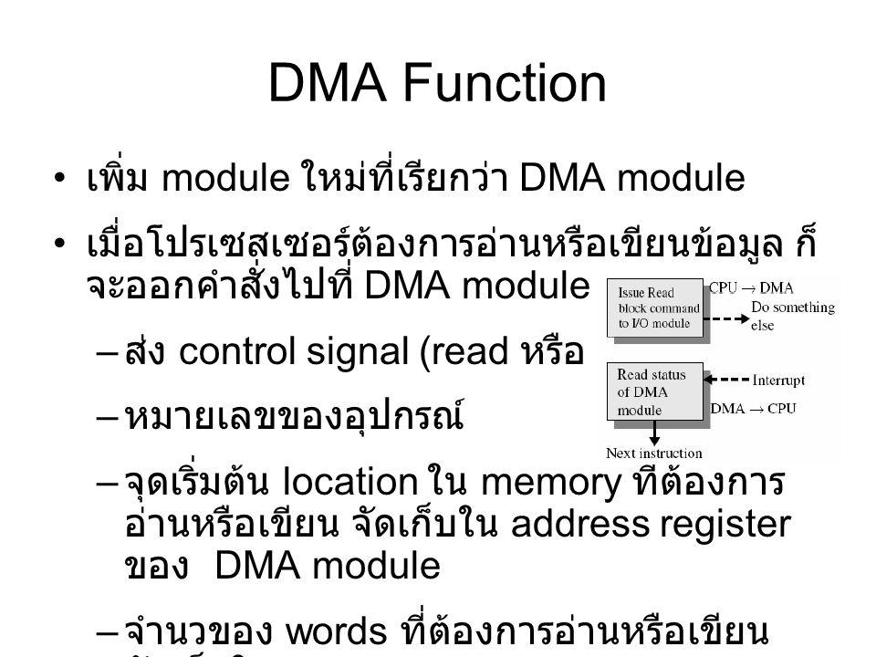 DMA Function เพิ่ม module ใหม่ที่เรียกว่า DMA module เมื่อโปรเซสเซอร์ต้องการอ่านหรือเขียนข้อมูล ก็ จะออกคำสั่งไปที่ DMA module – ส่ง control signal (read หรือ write) – หมายเลขของอุปกรณ์ – จุดเริ่มต้น location ใน memory ที่ต้องการ อ่านหรือเขียน จัดเก็บใน address register ของ DMA module – จำนวของ words ที่ต้องการอ่านหรือเขียน จัดเก็บใน data count register ของ DMA module