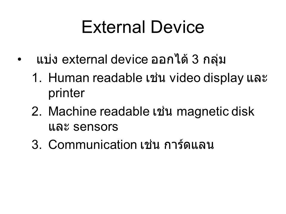 External Device แบ่ง external device ออกได้ 3 กลุ่ม 1.Human readable เช่น video display และ printer 2.Machine readable เช่น magnetic disk และ sensors 3.Communication เช่น การ์ดแลน