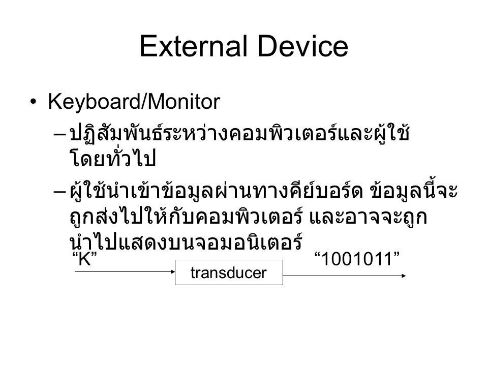External Device Keyboard/Monitor – ปฏิสัมพันธ์ระหว่างคอมพิวเตอร์และผู้ใช้ โดยทั่วไป – ผู้ใช้นำเข้าข้อมูลผ่านทางคีย์บอร์ด ข้อมูลนี้จะ ถูกส่งไปให้กับคอมพิวเตอร์ และอาจจะถูก นำไปแสดงบนจอมอนิเตอร์ transducer K 1001011