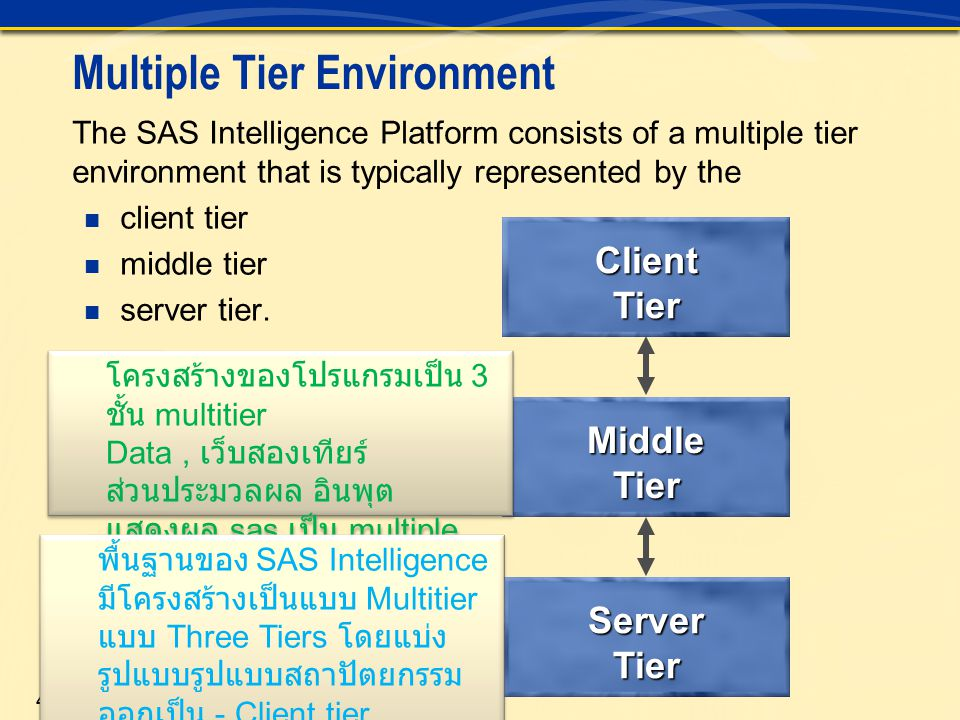 4 Multiple Tier Environment The SAS Intelligence Platform consists of a multiple tier environment that is typically represented by the client tier mid