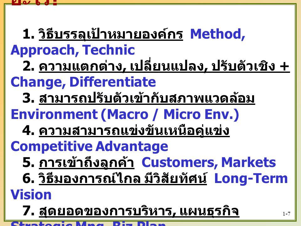 1-7   กลยุทธ์, ยุทธศาสตร์ คือ อะไร .1. วิธีบรรลุเป้าหมายองค์กร Method, Approach, Technic 2.