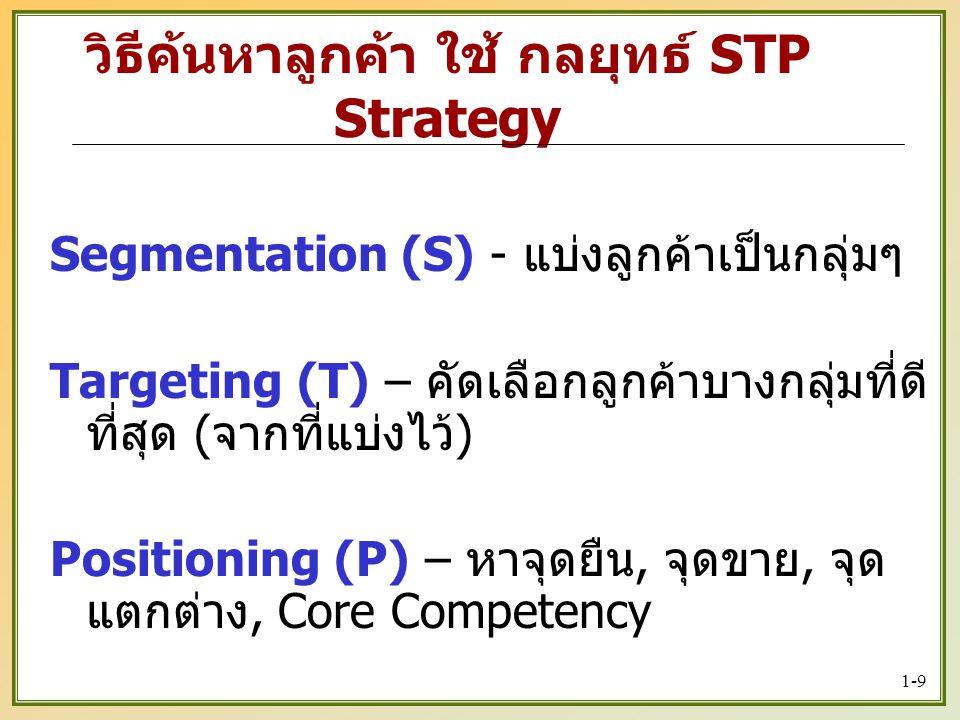 1-9 Segmentation (S) - แบ่งลูกค้าเป็นกลุ่มๆ Targeting (T) – คัดเลือกลูกค้าบางกลุ่มที่ดี ที่สุด ( จากที่แบ่งไว้ ) Positioning (P) – หาจุดยืน, จุดขาย, จุด แตกต่าง, Core Competency วิธีค้นหาลูกค้า ใช้ กลยุทธ์ STP Strategy