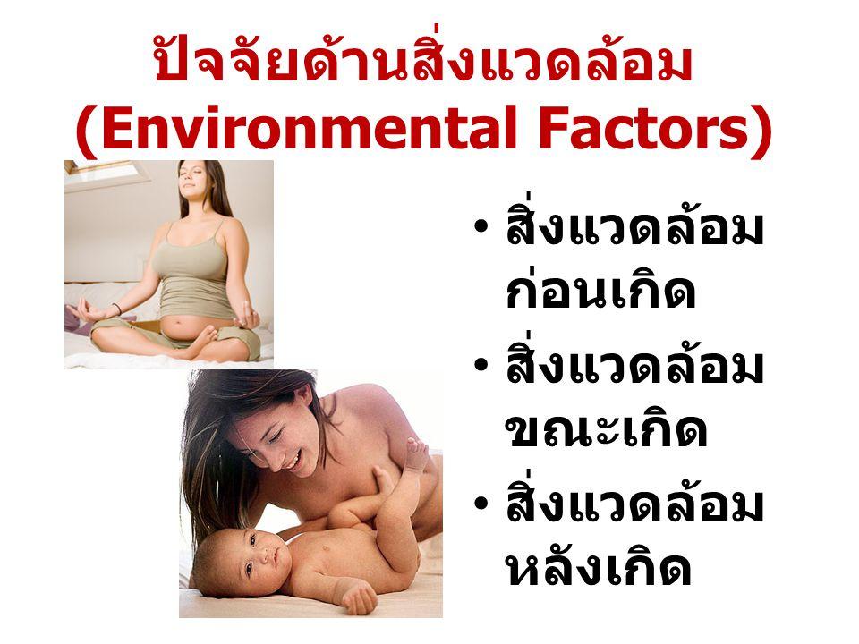 ปัจจัยด้านสิ่งแวดล้อม (Environmental Factors) สิ่งแวดล้อม ก่อนเกิด สิ่งแวดล้อม ขณะเกิด สิ่งแวดล้อม หลังเกิด