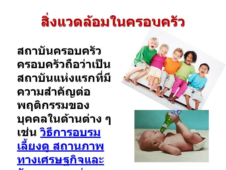 สิ่งแวดล้อมในครอบครัว สถาบันครอบครัว ครอบครัวถือว่าเป็น สถาบันแห่งแรกที่มี ความสำคัญต่อ พฤติกรรมของ บุคคลในด้านต่าง ๆ เช่น วิธีการอบรม เลี้ยงดู สถานภาพ ทางเศรษฐกิจและ สังคม ความมุ่ง หมายของพ่อแม่ เป็นต้น