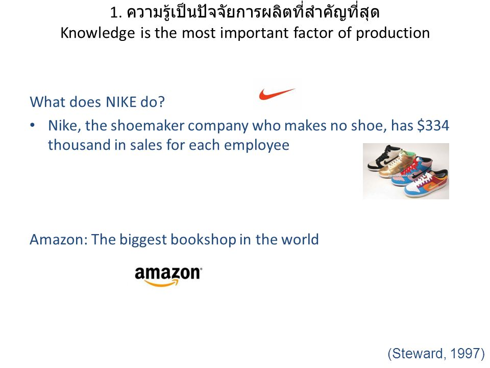 What does NIKE do? Nike, the shoemaker company who makes no shoe, has $334 thousand in sales for each employee Amazon: The biggest bookshop in the wor