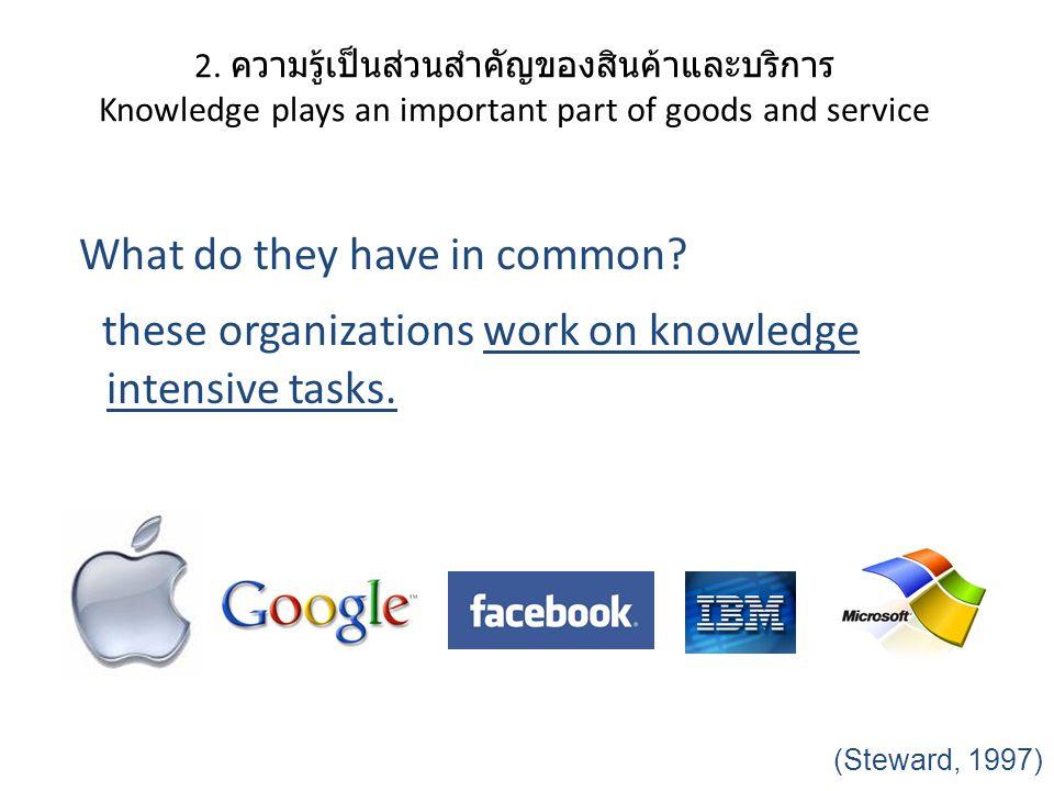 2. ความรู้เป็นส่วนสำคัญของสินค้าและบริการ Knowledge plays an important part of goods and service What do they have in common? these organizations work