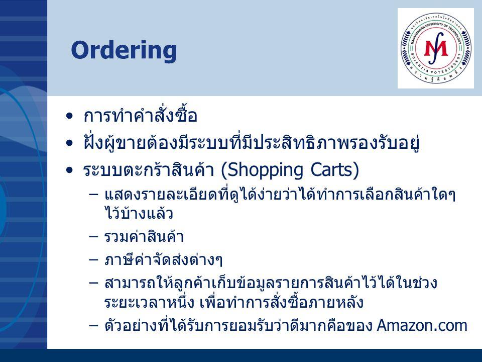 Ordering การทำคำสั่งซื้อ ฝั่งผู้ขายต้องมีระบบที่มีประสิทธิภาพรองรับอยู่ ระบบตะกร้าสินค้า (Shopping Carts) –แสดงรายละเอียดที่ดูได้ง่ายว่าได้ทำการเลือกส